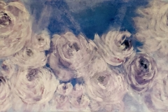 FT-003 Peonies white, blue - acryl on premium canvas