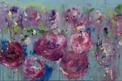 EXHIBITED FT-011 Peonies violett purple - acryl on premium canvas