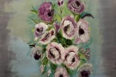 EXHIBITED FT-009 Roses white, purple - acryl on premium canvas