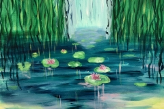 EXHIBITED  WL-002 Water Lillies blue, green, pink - acryl on premium canvas