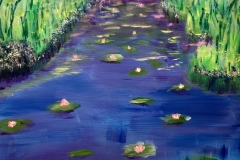 EXHIBITED  WL-005 Water Lillies green, pink blue - acryl on premium canvas