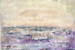 WL-001 Water Lilies white, violett, green - acryl on premium canvas 50 cm x 60 cm
